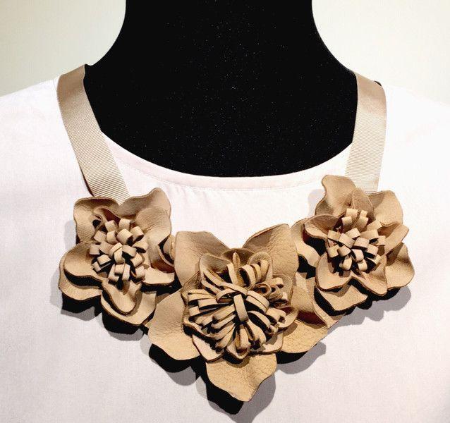 Statement Ketten - Lederkette beige - ein Designerstück von samesame-butdifferent bei DaWanda
