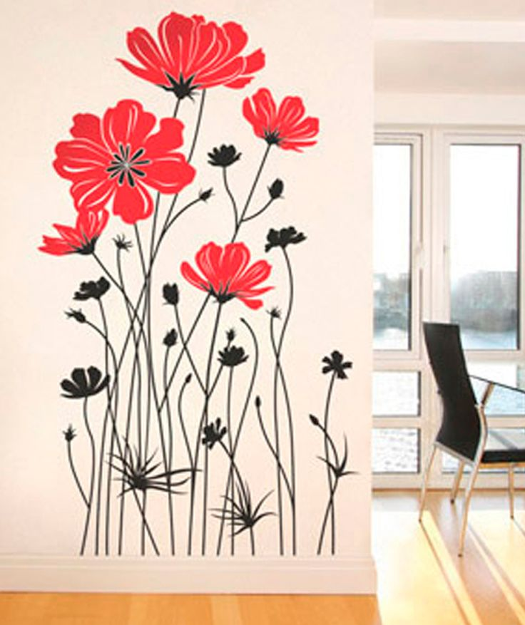 Flores armoniosas vinilo adhesivo decoraci n de paredes for Adhesivos decorativos pared