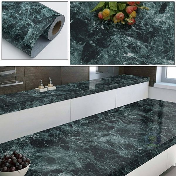 1m Marble Self Adhesive Wallpaper Pvc Wall Stickers For Kitchen