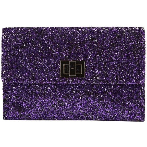 Pre-owned Anya Hindmarch Glitter Clutch Bag (510 665 LBP) ❤ liked on Polyvore featuring bags, handbags, clutches, purple, women bags clutch bags, pre owned purses, flap purse, glitter handbag, purple purse and locking purse