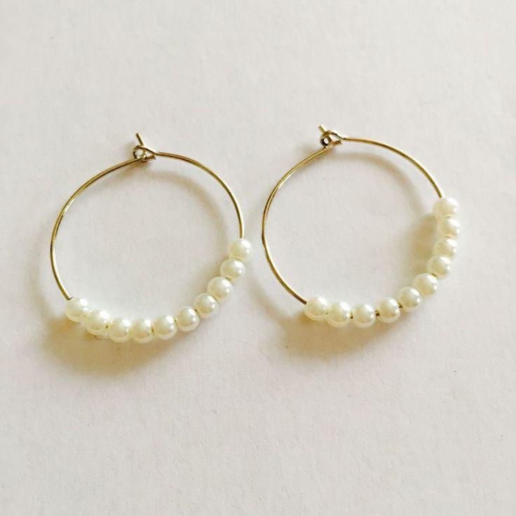 Ivory Pearl Bead Silver Hoop Earrings , Boho, Beach ,Festival Earrings #Hoop
