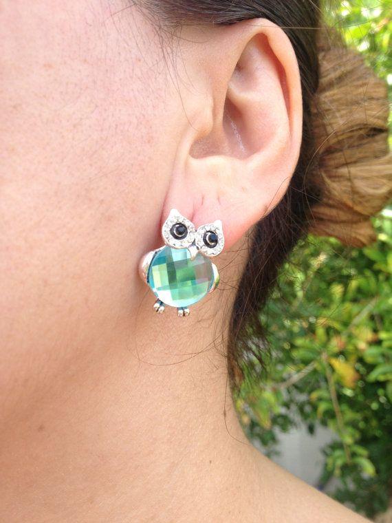 Earring, Owl Earrings, Green  Earring, owl jewelry, Owl, Brass Owl, Brass Earring, gift for here
