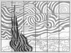 Encore un projet collaboratif ! Celui-ci me vient d'internet. A partir de la nuit étoilée de Van Gogh, plusieurs projets collaboratifs peuvent être mis en oeuvre : Sous forme de puzzle : L'oeuvre...