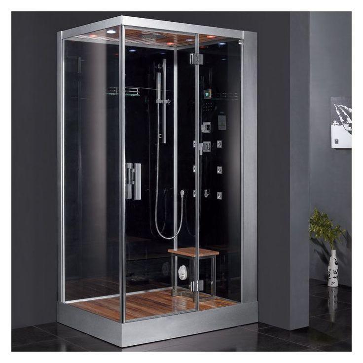 """Ariel DZ959F8-R Platinum 89"""" Steam Shower Enclosure with Shower System on Right Black Steam Showers Steamroom Enclosures Shower System"""