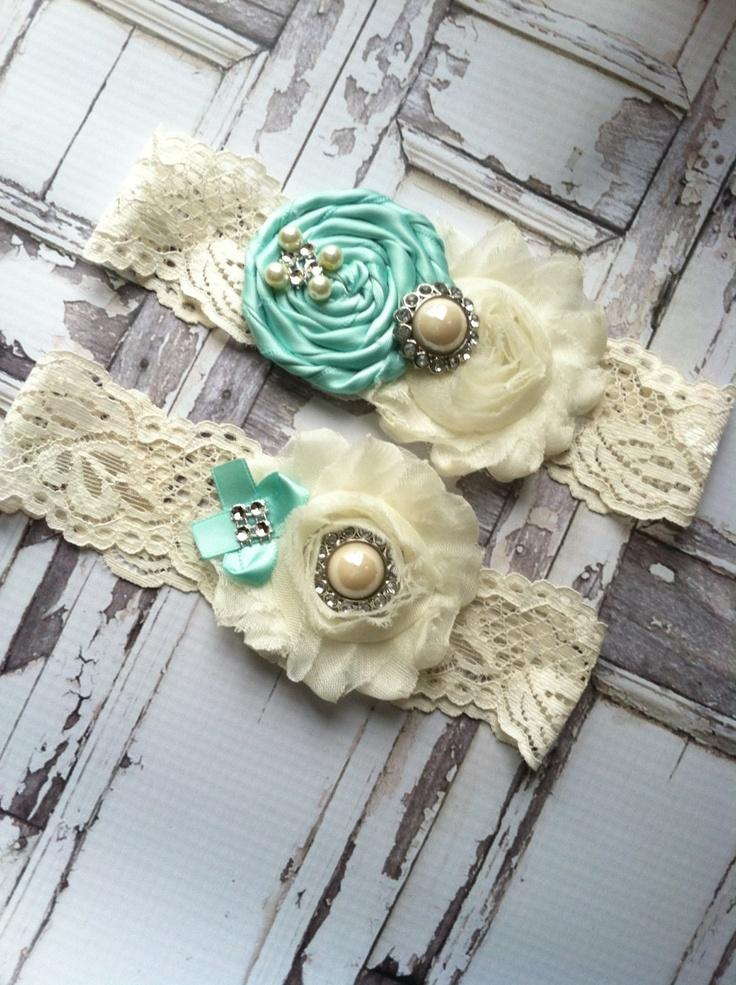 Garter/ wedding garter / TIFFANY BLUE / bridal  garter/  lace garter / toss garter / Something BLue wedding garter / vintage inspire. $24.99, via Etsy.