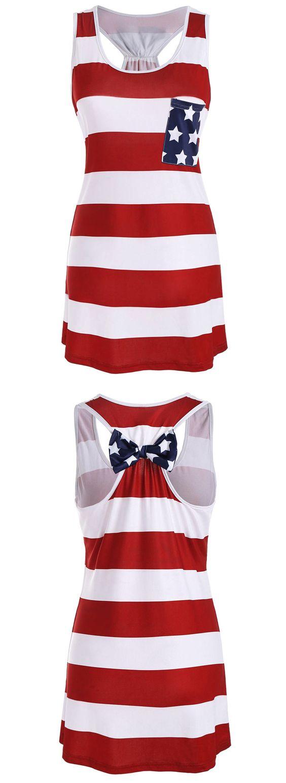 American flag print patriotic racerback tank dress