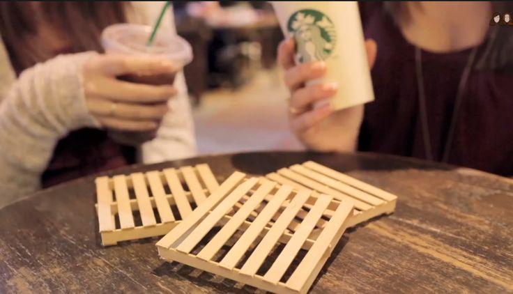 DIY mini pallet coasters.