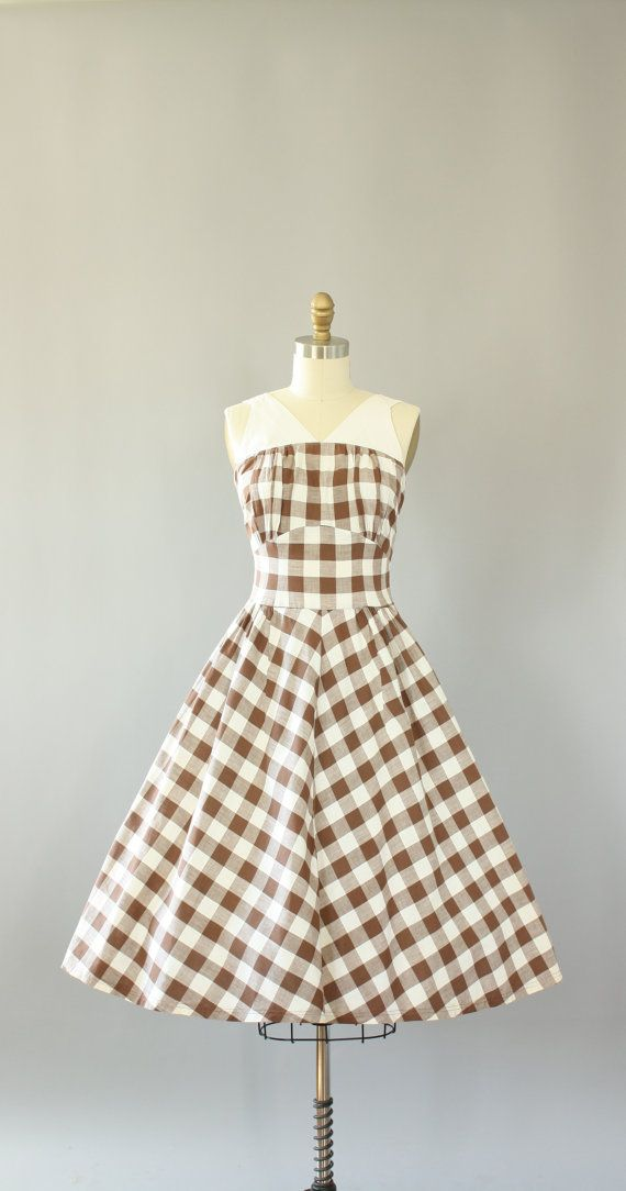 Vintage 50s Dress/ 1950s Cotton Dress/ Brown by WhenDecadesCollide