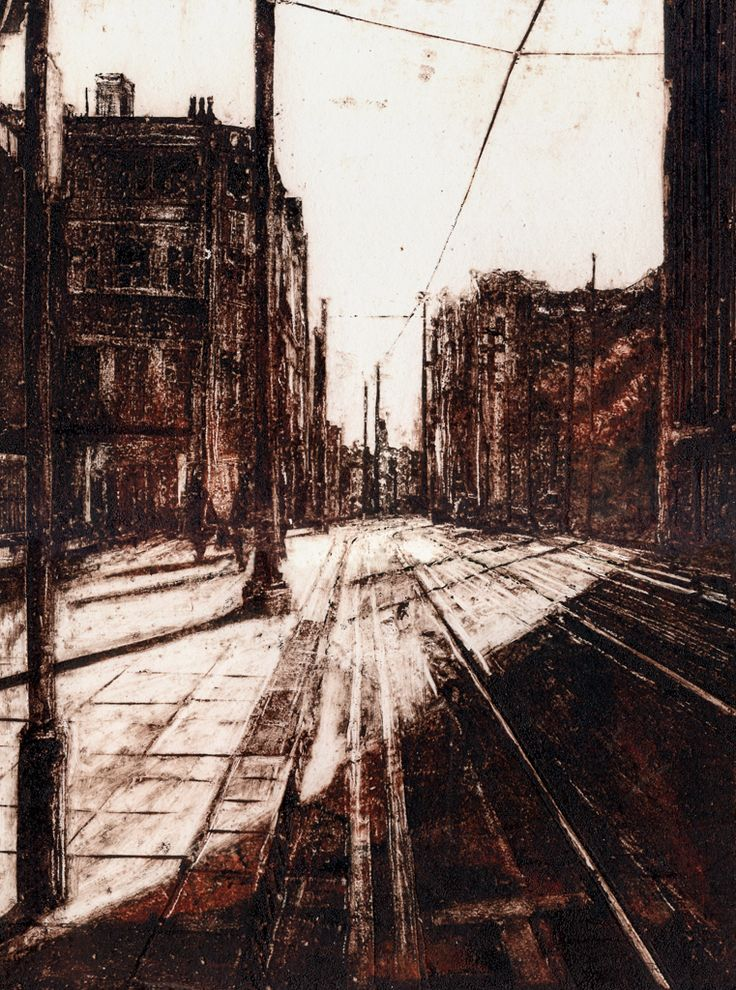 'The City' Pete Rees Collograph Print