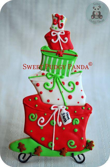 topsy turvy christmas present cookie