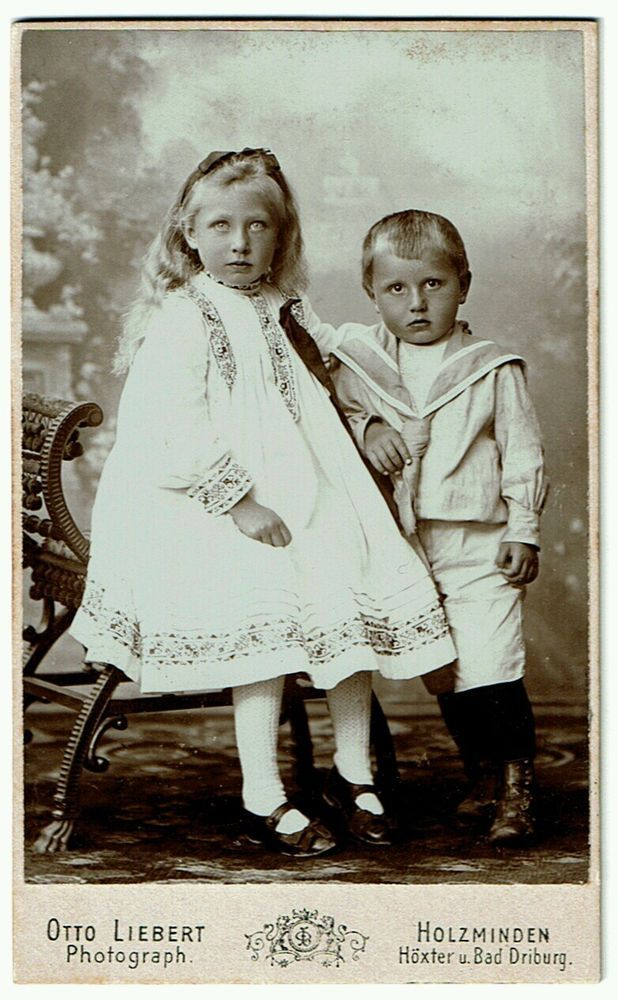 Exceptionally Lovely Little Blonde Girl and Her Brother 1901 CDV | eBay