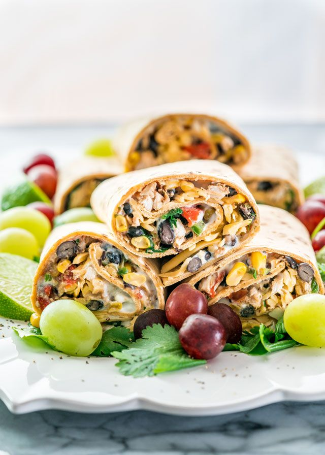 These Southwestern Wraps are packed with nutrition, containing black beans, chicken, spinach, and a low fat sour cream and blue cheese spread.