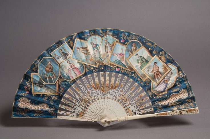 Fan    Artist or maker:      Unknown  Date:      1730-1740  Place of Production:      England?      Italy?  Medium:      gouache on skin, ivory, mother-of-pearl and gold  Type of Object:      fans (costume accessories)  Accession number:      3361