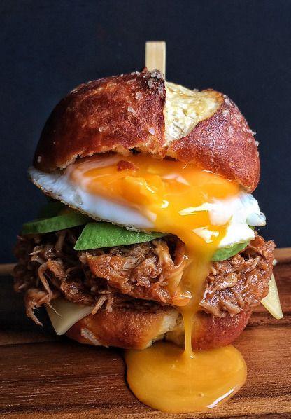 BBQ Pulled Pork, Avocado, Gouda & Fried Egg Sandwich on a Soft Pretzel Bun