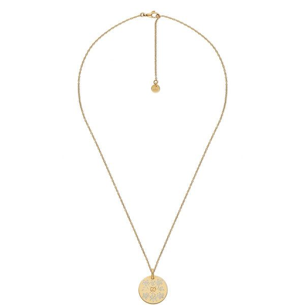 Gucci Icon Necklace In Yellow Gold ($1,400) ❤ liked on Polyvore featuring jewelry, necklaces, gucci, fine jewellery, jewellery & watches, gold chain necklace, pendant necklaces, 18k gold pendant, engraved necklaces and gold fine jewelry