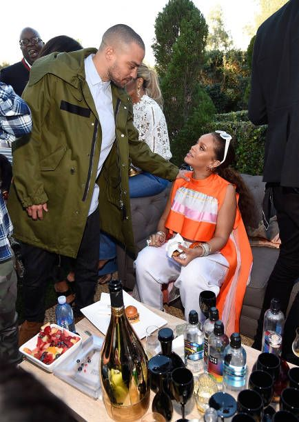 Jesse Williams and RIhanna attend 2017 Roc Nation PreGRAMMY brunch at Owlwood Estate on February 11 2017 in Los Angeles California