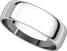 Mens Platinum, Light Half Round Wedding Band 6MM