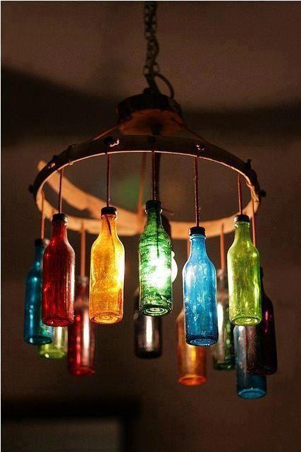 Wine bottle light...Would be great as an outside patio/gazebo light!!!