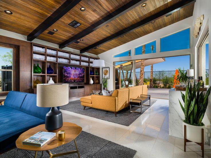Mid Century Modern Great Room. Wood Ceiling. Joybird