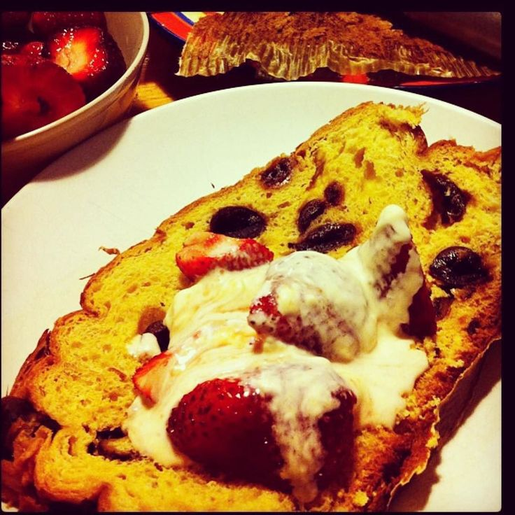 Every year I wait for the panettone  to arrive. Served here with strawberries and vincotto mascarpone.