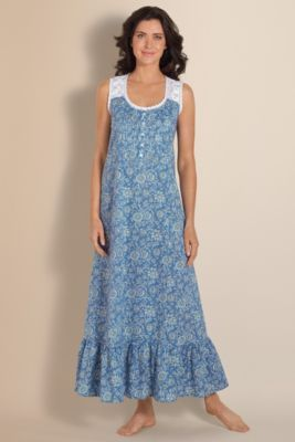 Breezy Gown - Womens Cotton Nightgown, Floral Nightgown, Scoop Neck Gown   Soft Surroundings