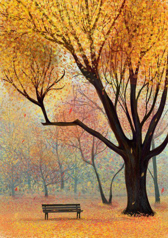 Осенний пейзаж для детей в картинках (43 фото) | Осенний ...