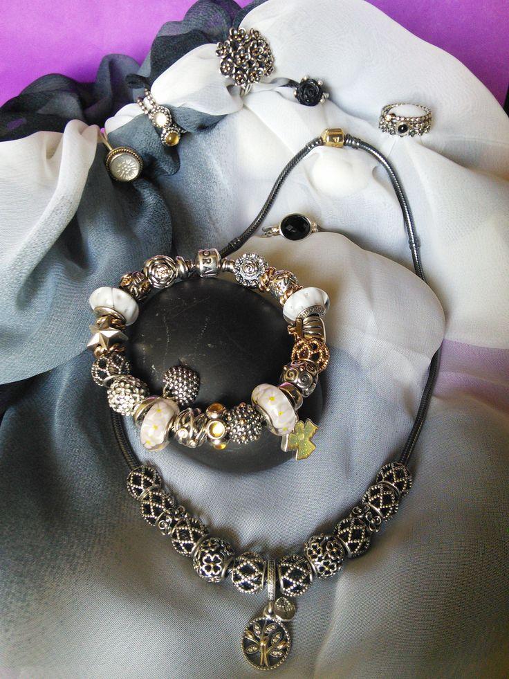 Моя любимая Pandora. Браслет, колье, кольца 29.08.2016 My favourite Pandora braslet, necklace, rings