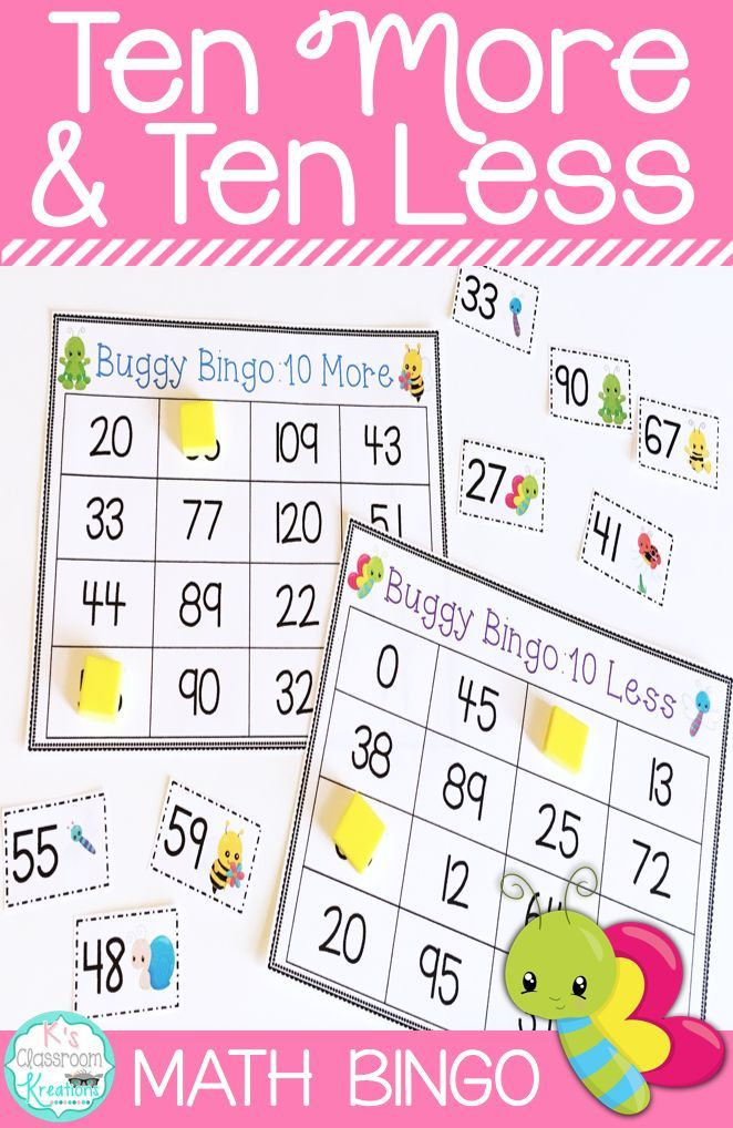 Do your students need practice mentally determining ten less and ten more than a number? This bug themed math bingo game for first grade is sure to add fun to your lessons!