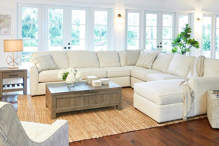The holidays may be over but that doesn't mean the relaxing has to end. Lounge on luxury all winter long with the comfortable, LiveSmart fabric Raegan sectional. #LiveLikeThis