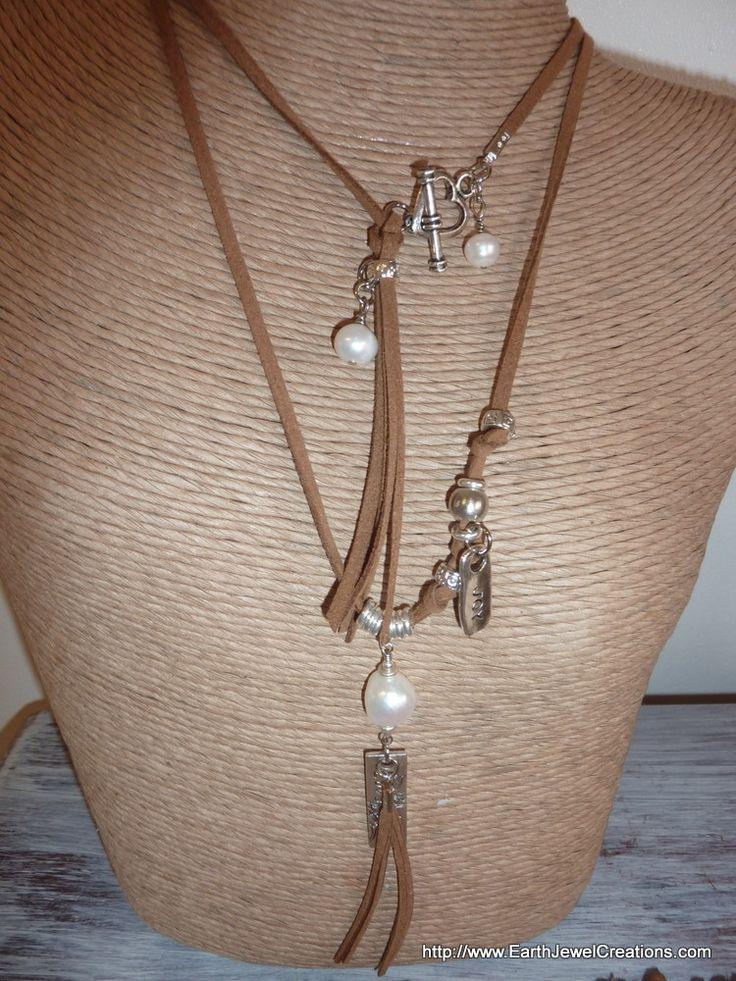 Freshwater Pearl & Suede Double Pendant - handmade crystal energy gemstone jewellery Earth Jewel Creations Australia