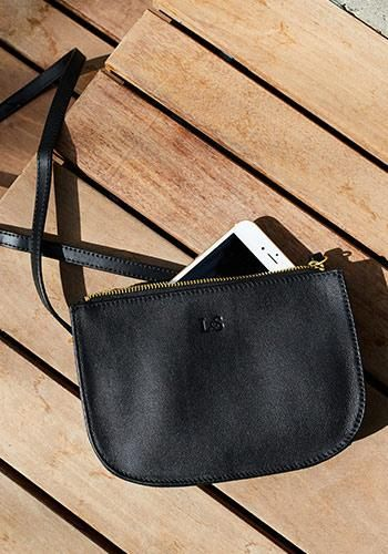 588956f4e23 Front With Phone - The Waverley - Nappa Leather - Black   Gold   Grey -  Crossbody - Lo   Sons