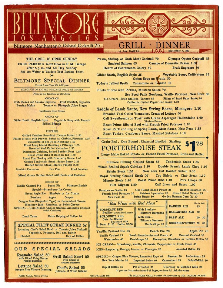 vintage menus | Art of the Menu: A Vintage Collection