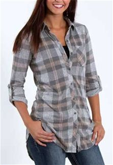 Polly and Esther Button Down Plaid Tunic for Women PK10972