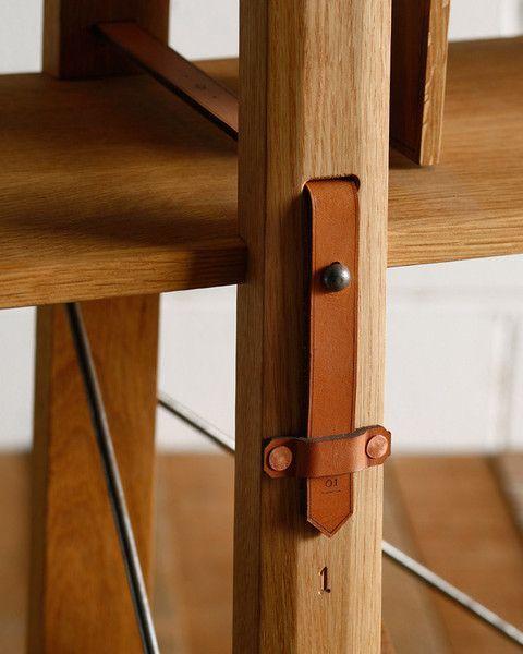 Market Shelf -Tall Narrow - leather detail on wooden shelf - Holzregal mit außergewöhnlichem funktionalem Design-Detail #furniture #design