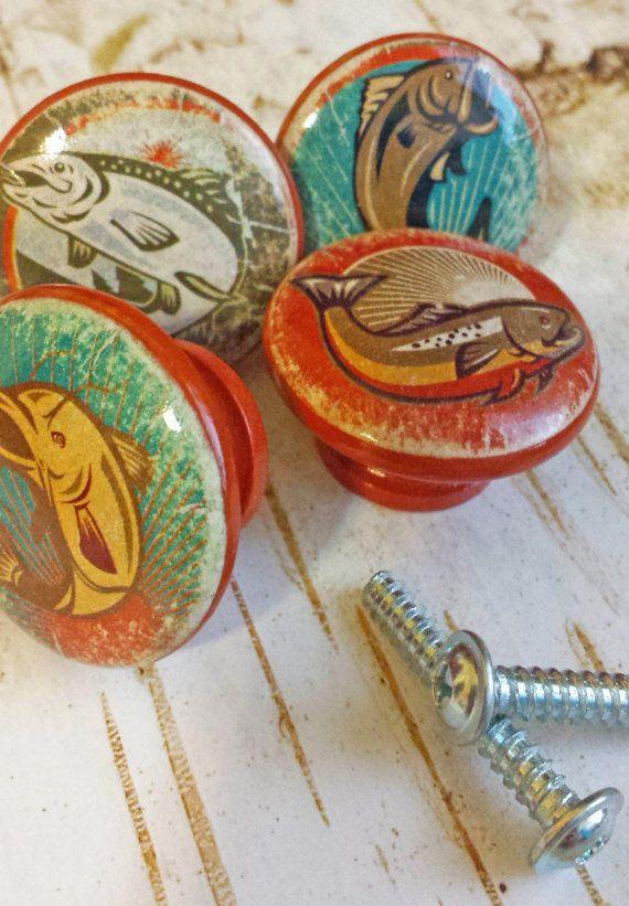 4 Handmade Fishing Knob Drawer Pulls Birch Wood Great