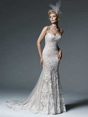 Scoop Fit and Flare Wedding Dress  with Natural Waist in Lace. Bridal Gown Style Number:33286196