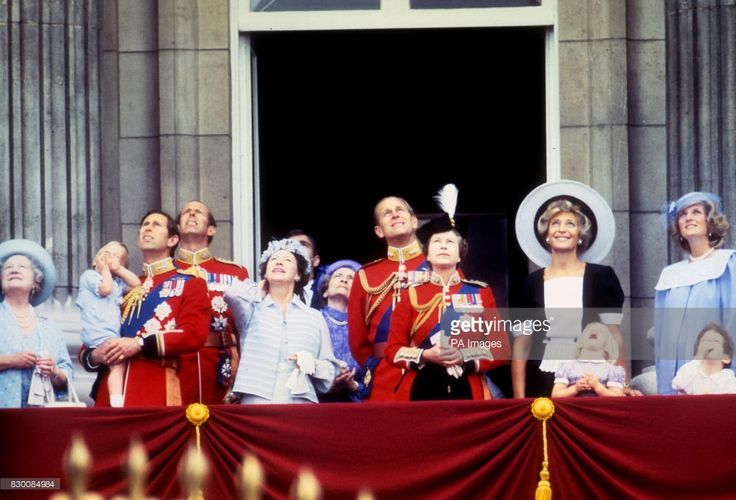 Members of the Royal Family gather to watch the RAF flypast for the Queen's birthday. (From left) The Queen Mother, the Prince of Wales, who is holding his son Prince William, the Duke of Kent, Princess Margaret, the Duchess of Gloucester, the Duke of Edinburgh, the Queen, Princess Michael of Kent and the Princess of Wales. (At Front, from left) princess Zara  (daughter of Princess Anne), Lord Frederick Windsor (son of Princess Michael of Kent) and prince Peter (Princess Anne's son).