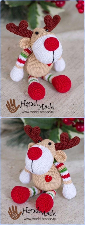 Crochet New YearReindeer Rudolph Free Pattern - Crochet Amigurumi Deer Toy Softies Free Patterns