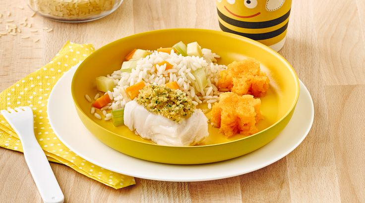 Knusperfisch mit Wurzelgemüse, Karottenpüree und Reis | 1.000 Tage: Kleinkindalter