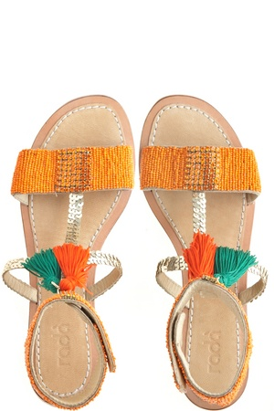 Beaded Gladiators by Rada. Beads + tassels = the perfect sandal.