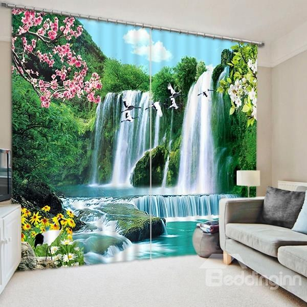 the wonderful waterfall print 3d blackout curtain - Home Decor Curtains