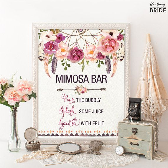 Printable MIMOSA BAR. Bohemian Bridal Shower Sign. Boho Floral