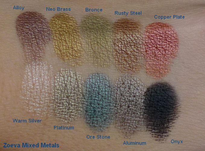 Zoeva Mixed Metals palette - swatches