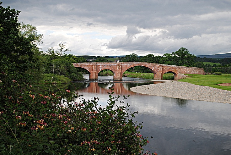 Lazonby Bridge in the lower Eden Valley. By this stage the river has left the high fells of Mallerstang far behind and is wending its way steadily towards Carlisle and the Solway Firth.