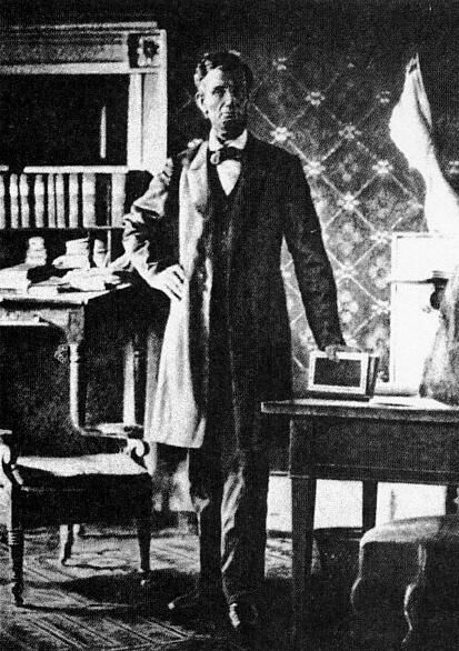 Abraham Lincoln - This is one of the only photographs of Abraham Lincoln in his White House office. It was taken by Anthony Berger, a Brady operator, to assist the artist Francis B. Carpenter in his massive painting of Lincoln reading the Emancipation Proclamation to his cabinet.