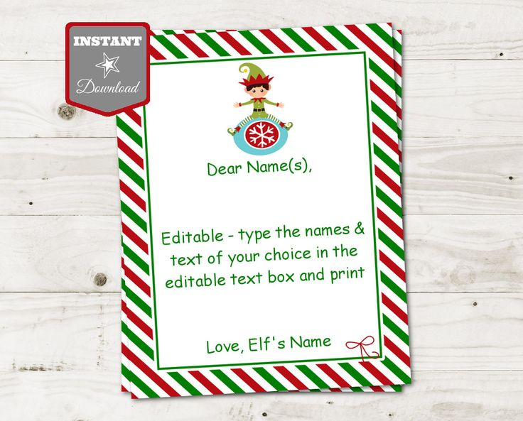 Elf on the Shelf Ideas: Printable 8.5x11 Elf Letter. Editable to add your own names and text. Add text and print. Lots of coordinating items available. Use promo code PINTEREST10 to save 10% off purchase.ETSY