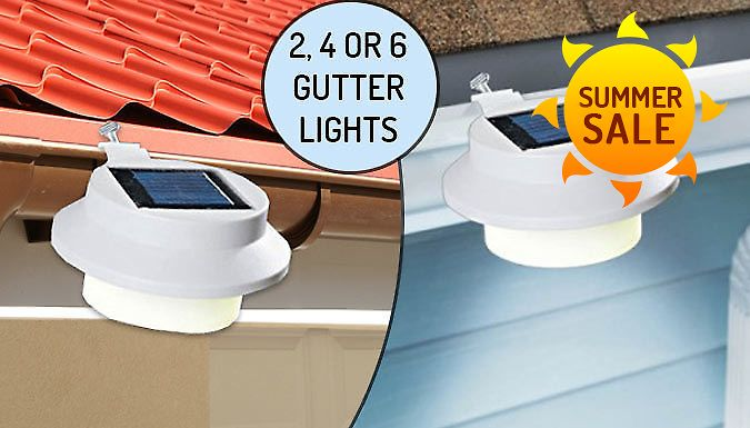 Buy Solar-Powered Gutter Lights - 2, 4 or 6 UK deal for just: £9.99 Light up your home with the Solar-Powered Gutter Lights      Available in packs of 2, 4 or 6      Clip-on design: secured with a screw-operated clamp      Can be easily installed onto roofs, gutters or fences outside      Absorbs sunlight to automatically shine bright at night time      No fiddly wiring makes it simple to...