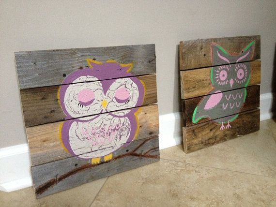 Owl,14x14,nursery Rustic Wall Art,Owl decor,wood pallet art,wood  planks,nursery,night owl,sleeping owl,owl girls bedroom,owl for babies,kids