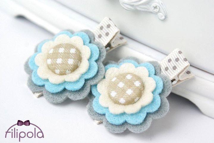 Spinki do wlosow  - filcowe kwiaty