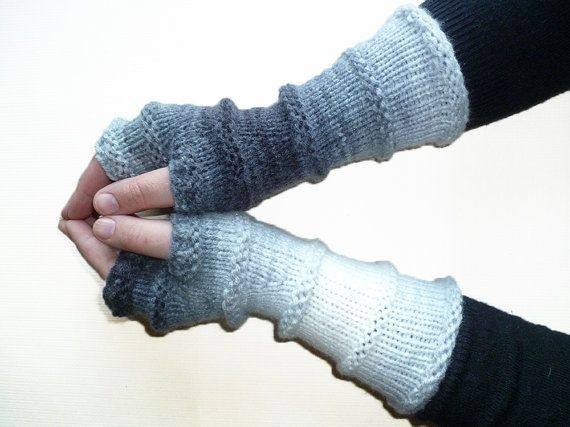 Knit Fingerless Gloves Mittens Hand Knit Arm Warmers Wrist Warmers Long Gloves Knit Women Gloves Girls Gloves Boho Gloves Gray White